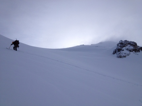 Slogging up the headwall