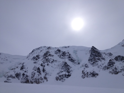 Farther across the glacier, North Face of Item Peak
