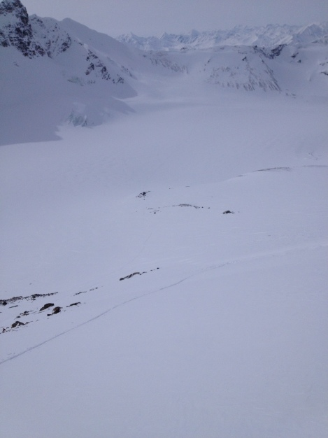 You can just barely make out our trail across the glacier