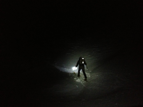 Ski up in the dark